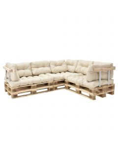 [en.casa] Set of Cushions  - corner couch - tan -  with euro pallet + arm- and back rest