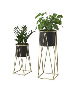 [en.casa] Two-Piece Plant Stand Different Sizes Metal Brass Black