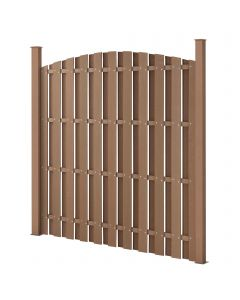 [neu.holz] Picket Garden Fence Panel Curved Top WPC Wood Plastic Composite 185x193cm Brown