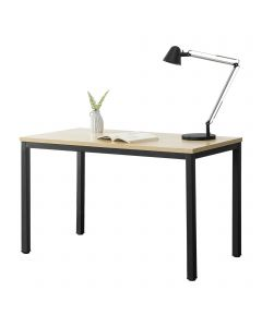 [en.casa] Office Desk Computer Workstation with Adjustable Heigth Powder Coated Steel Legs Melamined Particleboard Top 75 x 120 x 60 cm Black and Oak